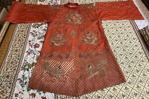 Antique Chinese Hand Embroidery Qing Dynasty Silk Dragon Foo Loin Robe