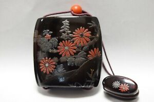 Rare Japanese Antique Lacquered Wooden Makie Ornamental Box Inro Netsuke B151