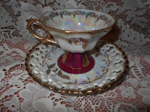 Royal Sealy China Mop Iradescent Footed Tea Cup Reticulated Saucer W Gold