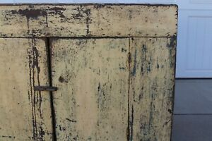 Amazing Aafa Antique Early 1800 S Paint Yellow Blue Primitive Wood Dry Sink