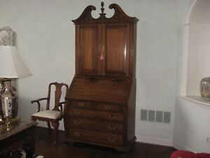 Vintage Henkel Harris Black Walnut Blind Door Secretary Desk Model 6015 W Chair