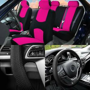 Full Cover Set Bucket Covers Solid Bench Pink W balck Silicone Steering Cover