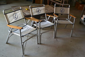 Midcentury Eez In Marine Boat Deck Aluminum Chairs Folding Patio Anchor Ship