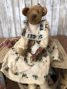 Antique Style Hand Made Bear Doll Fabric Dress Aged 20 Vintage Look Primitive