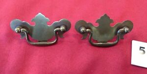 2 Metal Chippendale Style Small Brass Tone Drawer Pulls Handles Ts B5