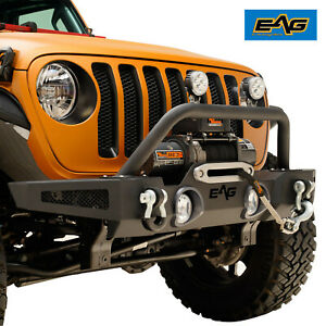 Eag Front Bumper Rock Crawler With Winch Plate For 2018 2019 Jeep Jl Wrangler