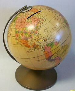 The Revere Vintage Replogle 6 Metal Earth Globe Bank In Near Mint Condition