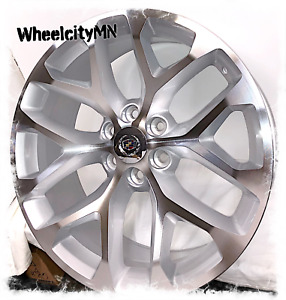 Snowflake Silver Machined 24x10 Inch Fits Cadillac Escalade Platinum Ext 6x5 5