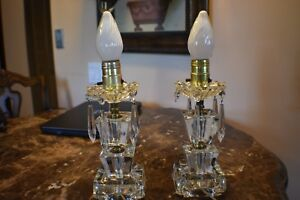 Two Vintage Antique Glass Table Lamps With Glass Prisms