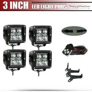 4x3inch 16w Bumper Spot Led Work Light Square Cube Pods Offroad Fog 4wd