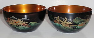Vintage Japanese Lacquer Ware Scenic Bowls W Hand Painted Koi Carp Fish Inside