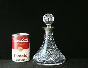 Antique Sterling Silver Cut Glass Decanter Stopper 7 1 4 Hallmarked