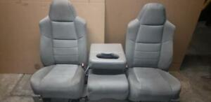 99 08 10 Ford F250 F350 Front Tan Cloth Manual Seats Center Console Jump Seat