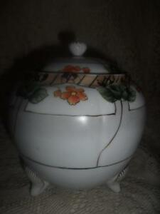 Antique Large Hand Painted Porcelain Nippon 3 Footed Cracker Biscuit Cookie Jar