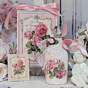 Shabby Chic Vintage Paris Decorative Perfume Bottle Wall Sign Faded Roses