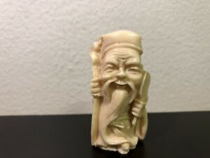 Bone Detailed Hand Carved Japan Netsuke Sculpture Old Man With A Fan