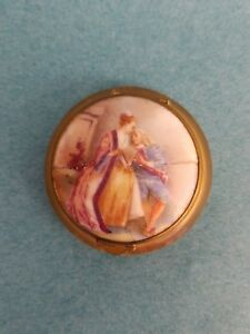 Antique Porcelain Celluloid Pill Box Or Compact With Romantic Figures France