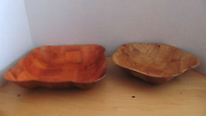 Vintage 2 Wooden Bowls Checkerboard Design 1 Square Scalloped 1 Five Sided One
