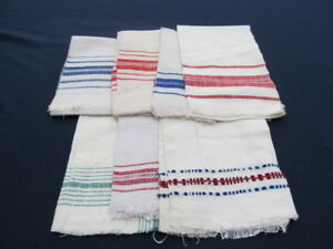 Old Primitive Antiques Hand Wooven Homespun Towels Linens Cotton Lot Ot 7