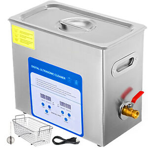 6l Ultrasonic Cleaner With Heater Timer Basket Lab Solution Variable Frequency