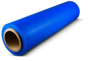 Tinted Blue Colored Hand Stretch Wrap 18 1500 63ga Plastic Film 36 Rolls