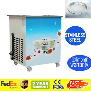 Round Fry Pan Electric Thai Style Fried Yogurt Rolled Ice Cream Machine Portable