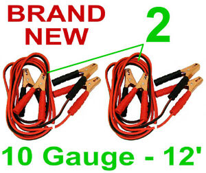 2 NEW 10 GAUGE 12' JUMPER/BOOSTER CABLES ATV 200 AMP EMERGENCY CAR JUMP START