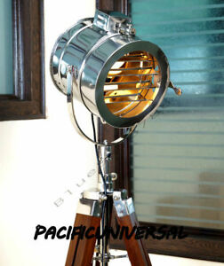 Hollywood Vintage Polished Searchlight With Tripod Stand Floor Nautical Stand