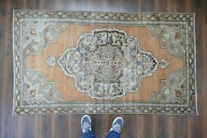 Vintage Turkish Oushak Runner Rug Handwoven Wool Antique Rug 3 9x6 8 Ft
