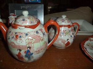 Asian Pottery Tea Set Japan Antique China Plate 6 Piece Hand Painted Pottery