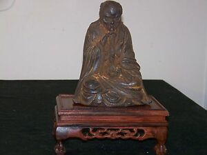 Chinese Ming Dy Bronze Metal Of Elder Holding Ruyi W Stand
