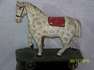 Antique American Pull Toy Horse Mid C1800 S Hand Carved Wooden