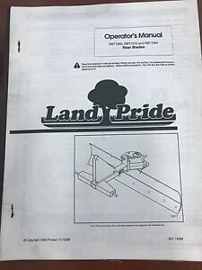 Landpride Owners Manual Rbt1560 Rtb1572 Rtb1584 Rear Blades used 301 144m
