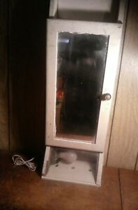 Antique Wood Medicine Mirror Wall Cabinet With Light 33 X 11 X 5