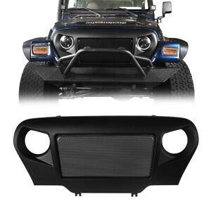 Matte Black Angry Bird Style Front Cover Grille For Jeep Wrangler 1997 2006 Tj