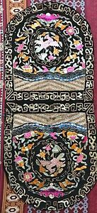 Antique Chinese Silk Rank Badge Embroidery Flycatcher Birds Pairs