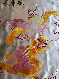 Antique Chinese Japanese Wall Hanging Hand Embroidery Silk Art Textile 27 By46