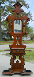 Victorian Hall Tree Umbrella Stand Walnut Signed C Blake Nov 1870