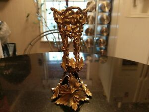 Art Nouveau Ornate Metal Flower Vase Holder