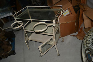 Antique Cast Iron Medical Doctor Glass Display Cabinet Show Case