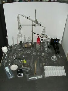 Large Chemistry Lab Glassware Set Flasks Laboratory Clamps Go Green Made In Usa
