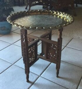 Vintage Moroccan Middle Eastern Engraved Brass Tray Carved Wood Folding Table