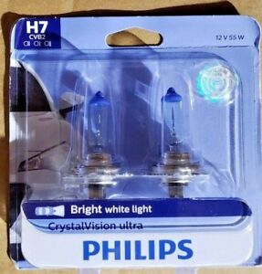 Philips H7 Crystalvision Ultra Upgrade Headlight Bulb 2 Pack H7cvb2
