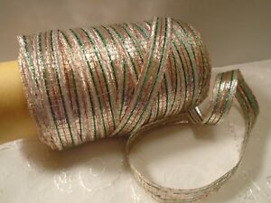 Vintage French Woven Metallic Tinsel Ribbon 1930 S Green Copper Silver 3 8 Bty