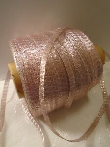 Vintage French Woven Metallic Tinsel Ribbon 1930 S Pink Silver 1 4 Wide Bty