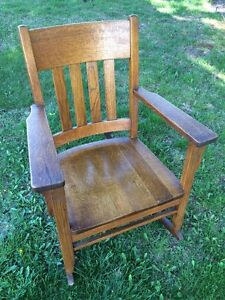 Quartersawn Oak Amish Slat Back Craftsman Mission Rocker Rocking Chair