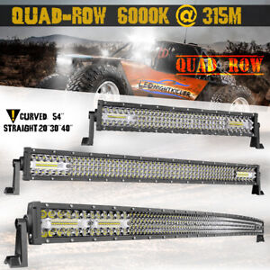 20 30 40 50 Quad Row Led Light Bar Spot Flood Combo 6000k Driving 54inch Curved