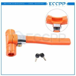 Steering Wheel Lock Vehicle Car Security Keyed Lock Anti Theft Devices Orange