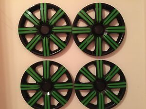 15 Inch Hubcaps Wheel Covers Universal Wheel Rim Cover 4 Pieces Set Black Green