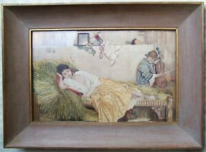 Antique Vintage Silk Work Embroidery Pictures Framed